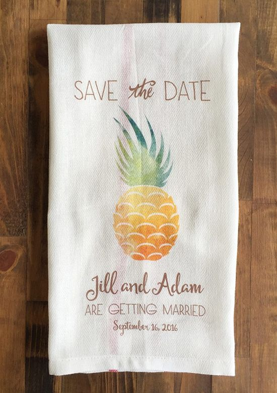 pineapple save the date tea towel @weddingchicks