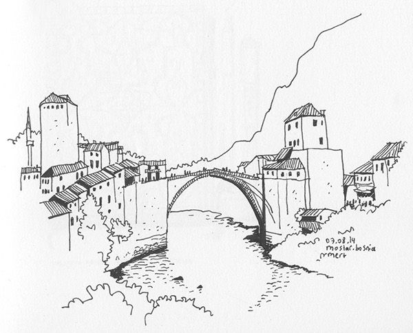 Sketch of one the well preserved Ottoman Cities in the world | Mostar Bridge, Mostar, Bosnia & Herzegovina | 2014