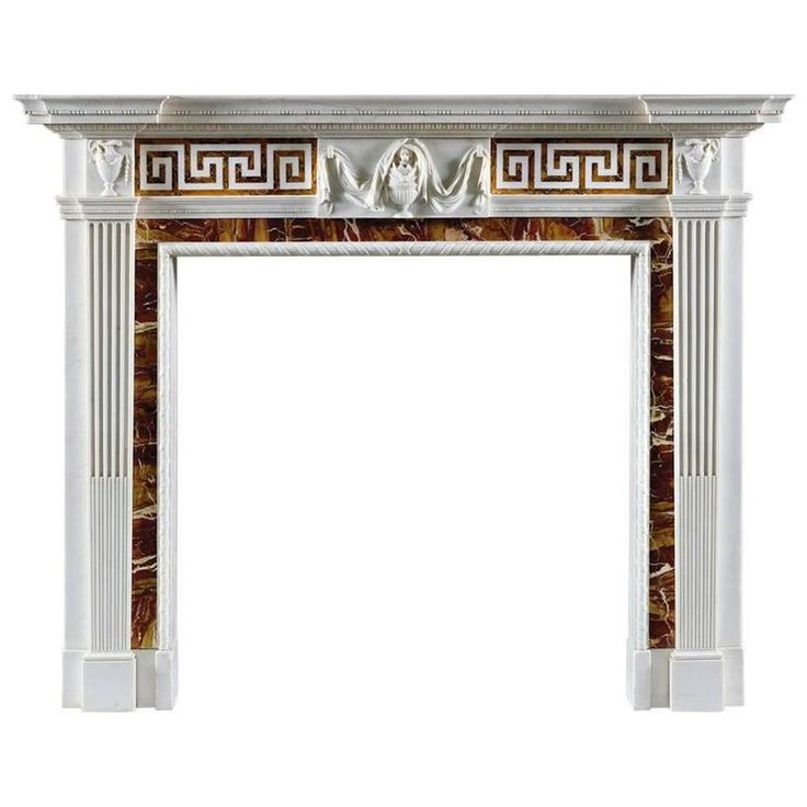 Superb Antique George III Style Statuary Marble Fireplace Mantel 1