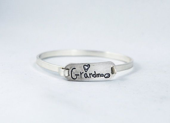handwriting put on a sterling silver tension bangle bracelet