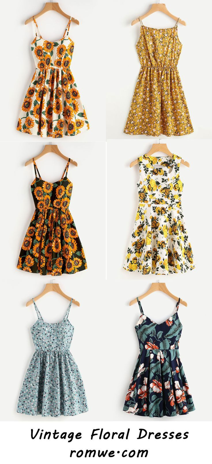 Floral Dresses with soft material, special design and vintage pattern from romwe... 2