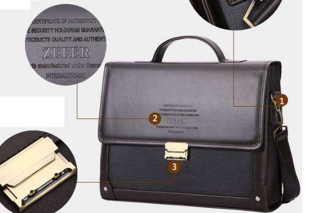 Мужской кожаный портфель строгой формы