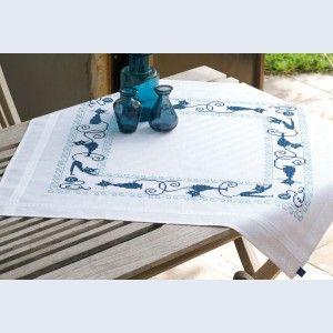 Cheerful Cats: tafelkleedje om zelf te borduren, voorgedrukt in kruissteek