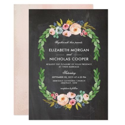 Sweet Watercolor Bouquet - Chalkboard | Invitation - invitations personalize custom special event invitation idea style party card cards