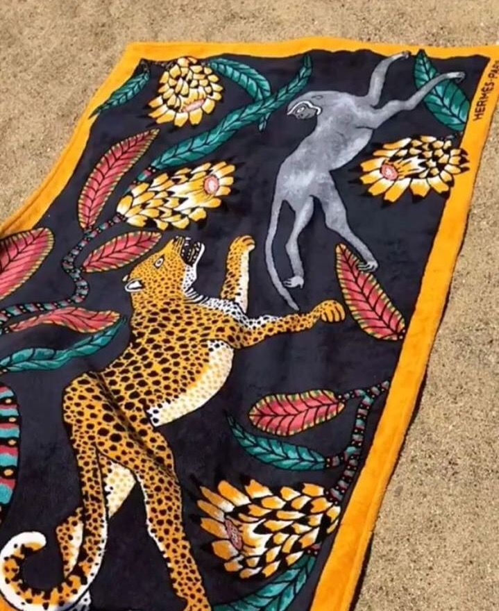 'Savana Dance' Hermes beach towel designed by the Ardmore Artists.