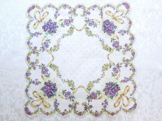 Vintage Floral Handkerchief Hankie Printed by VintageLinens