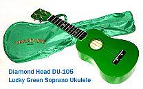 DIAMOND HEAD UKULELE, Soprano DU-105 Lucky Green w/ gig bag...... nice gift or low-cost starter uke
