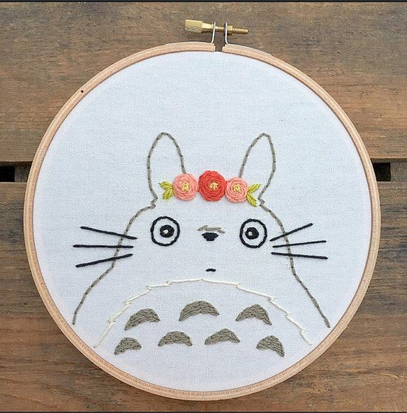 Totoro embroidery hoop art by bugandbeanstitching on Etsy