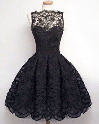 Stylish Round Neck Sleeveless Solid Color Hollow Out Lace Dress For Women (BLACK,S) | Sammydress.com Mobile
