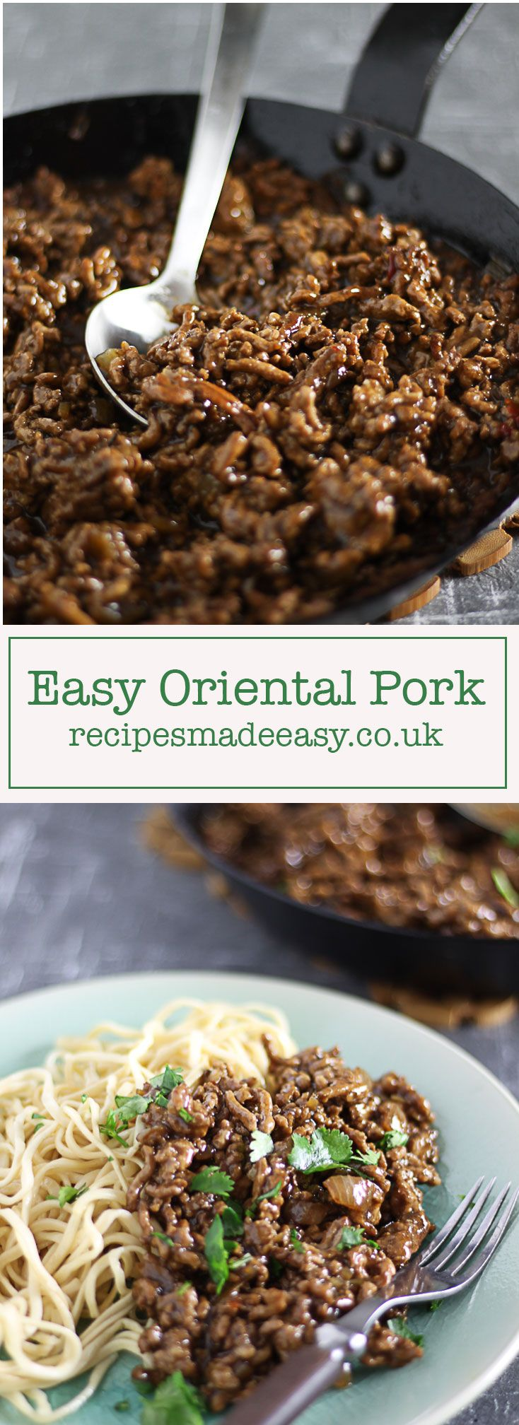 Easy Oriental Pork. A savoury mince flavoured with sweetchilli, oyster and soy sauce by recipesmadeeasy.co.uk