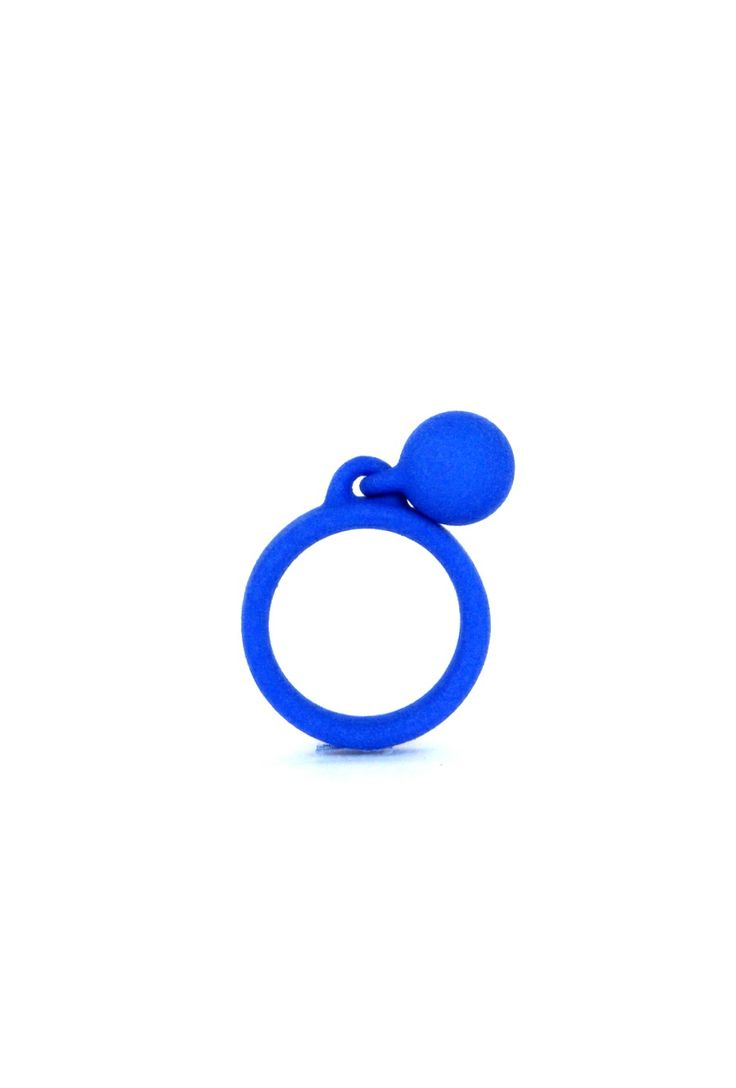 3D printed ring. A blu ring with a little ball!   www.scicche.itwww