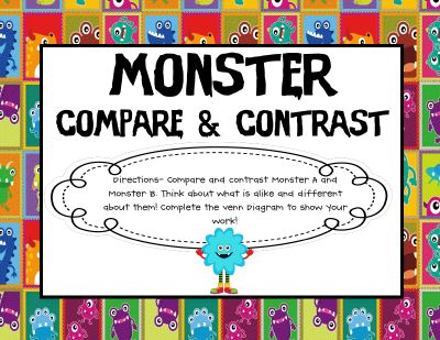 monster compare and contrast (FREE)   # Pin++ for Pinterest #