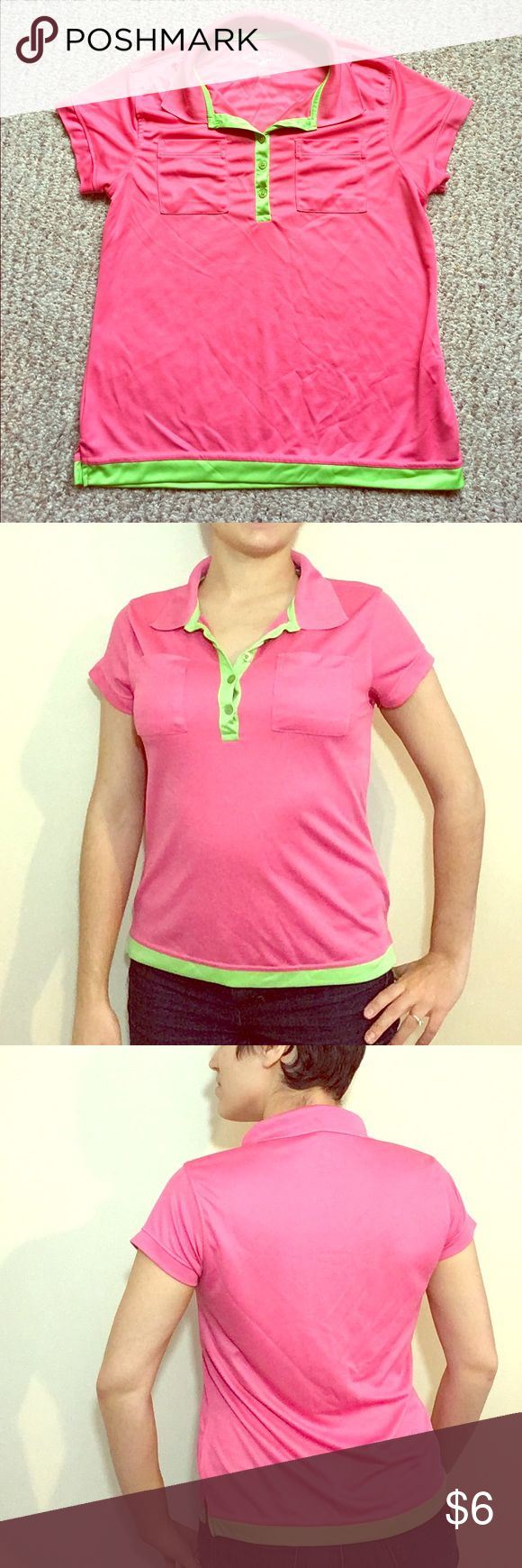 Beverly Hills Polo Club Golf Shirt 👚 Comfortable Beverly Hills Polo Golf shirt, great for sports or a casual day out. This shirt is a L but fits a Medium quite well. Bright pink with lime green buttons and trim with two breast pockets on the front. Item has only been worn once and is in excellent condition. Materials is 100% polyester. Will offer additional discounts when bundled 💕 beverly hills polo club Tops Tees - Short Sleeve