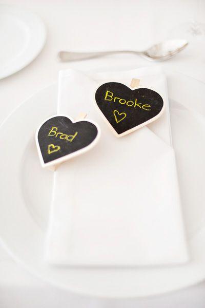 Simple heart chalkboard labels. Image: Emma Sharkey Photography