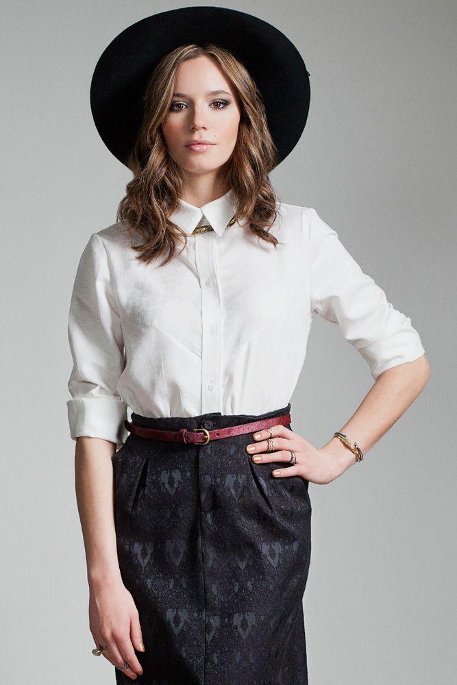 Polar Blouse by Jennifer Glasgow.  Long sleeve button up shirt.