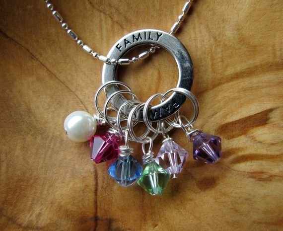 family birthstone metal stamped pendant