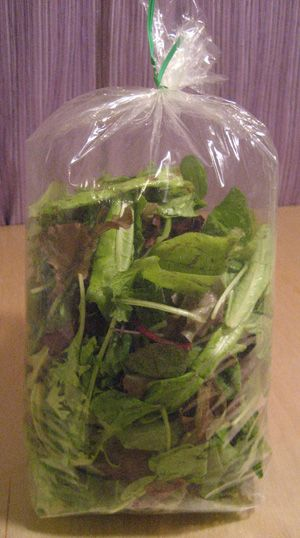 Well i never!  apparently if you Blow into bag then seal it tightly - CO2 prevents the greens from getting soggy! How To Store Salad Greens Who knew??