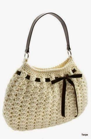 Horgolás minták: Kisebb fehér táska