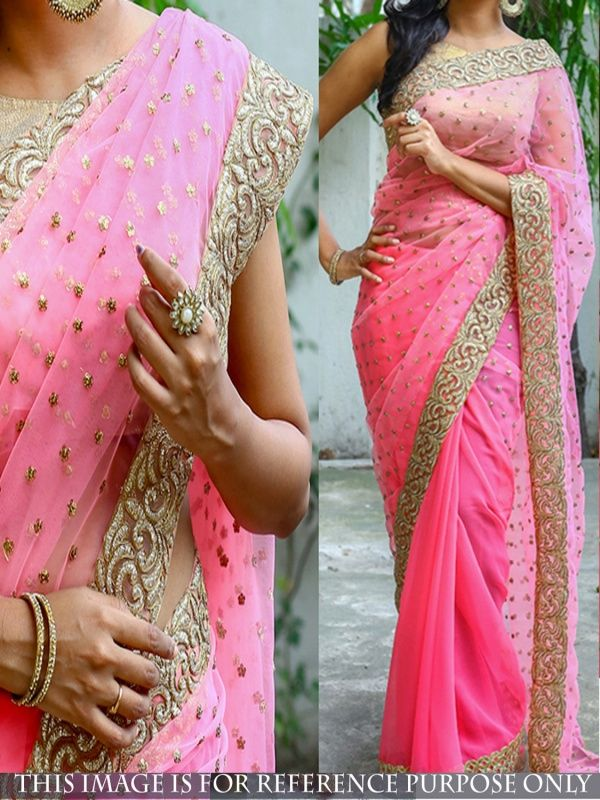Seraphic Pink Georgette Designer Saree comes with Golden Color Banarasi Blouse.It contained the work of Embroidery with Lace border.The Blouse which can be customized up to bust size 40
