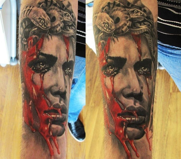 Bloody Medusa realistic tattoo