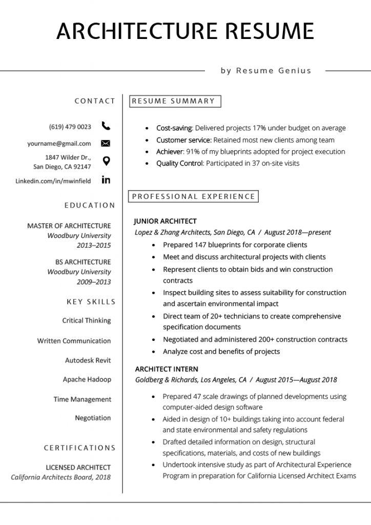 Architect Resumes 2021 Architecture Resume Resume Examples Architect Resume