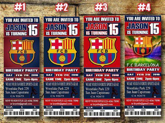 FC Barcelona Birthday Ticket Invitation-FC Barcelona Sport Ticket Invitation-Printable Personalized FC Barcelona Birthday Ticket