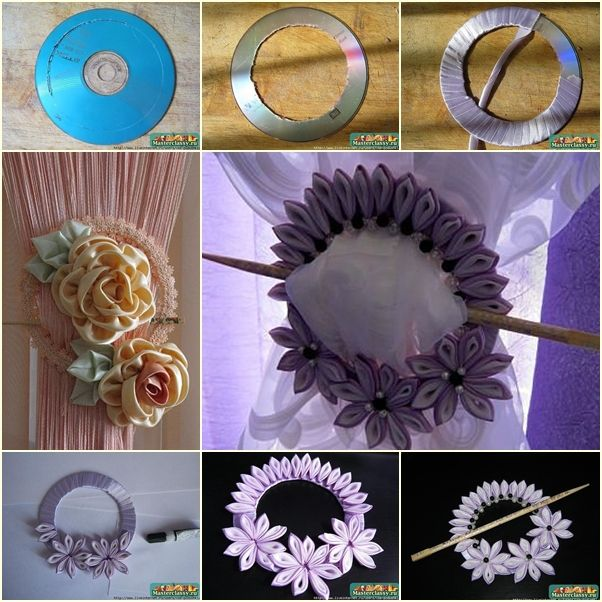 DIY Ribbon Flower Curtain Knot from Old CD tutorial and instruction. Follow us: www.facebook.com/fabartdiy