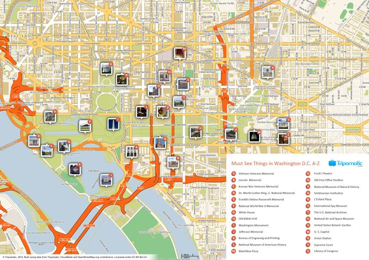 Map of Washington attractions | Tripomatic.com