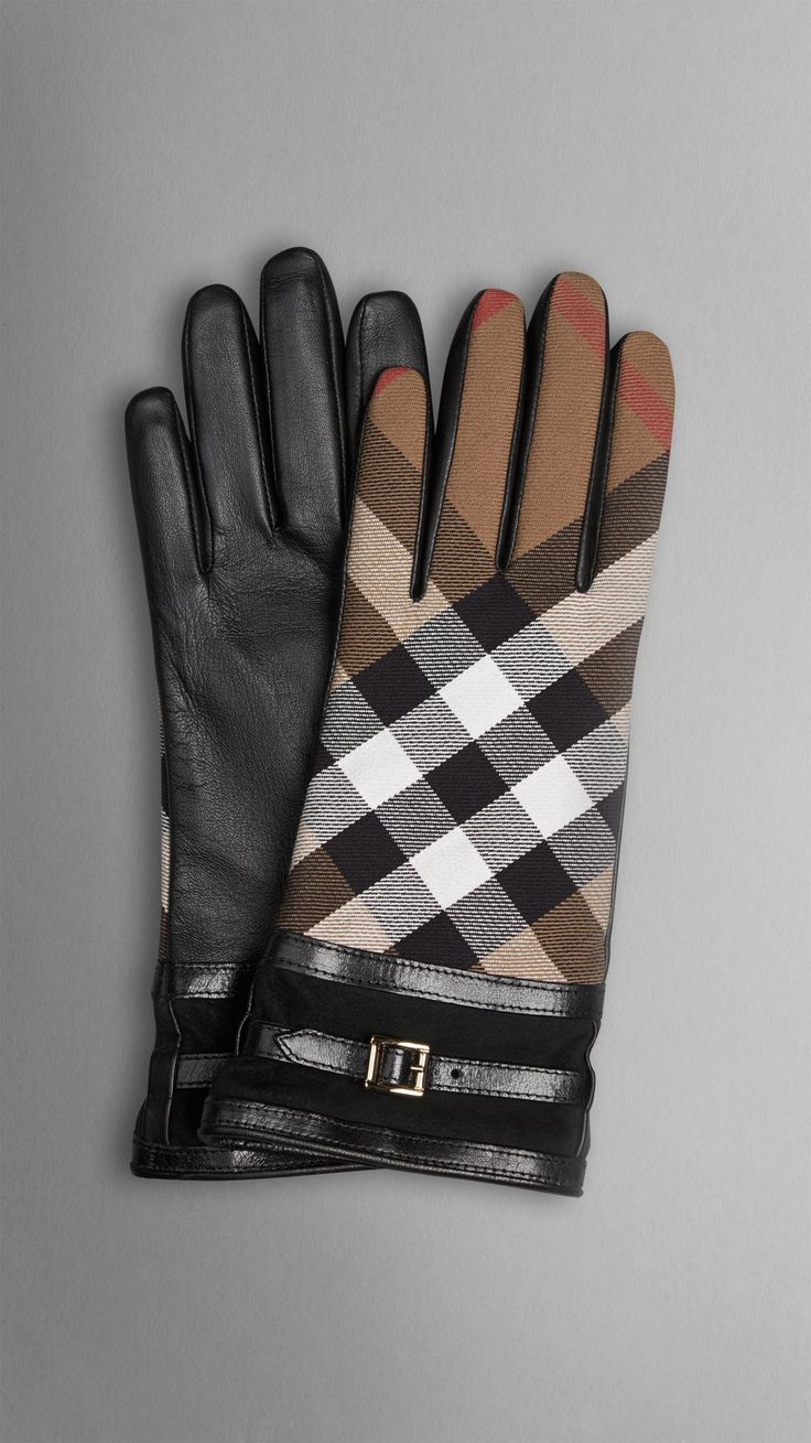 House Check and Leather Touch Screen Gloves | Burberry