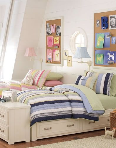 Shared Rooms 16-great for boy/girl room and love the nightstand at the end of the beds!