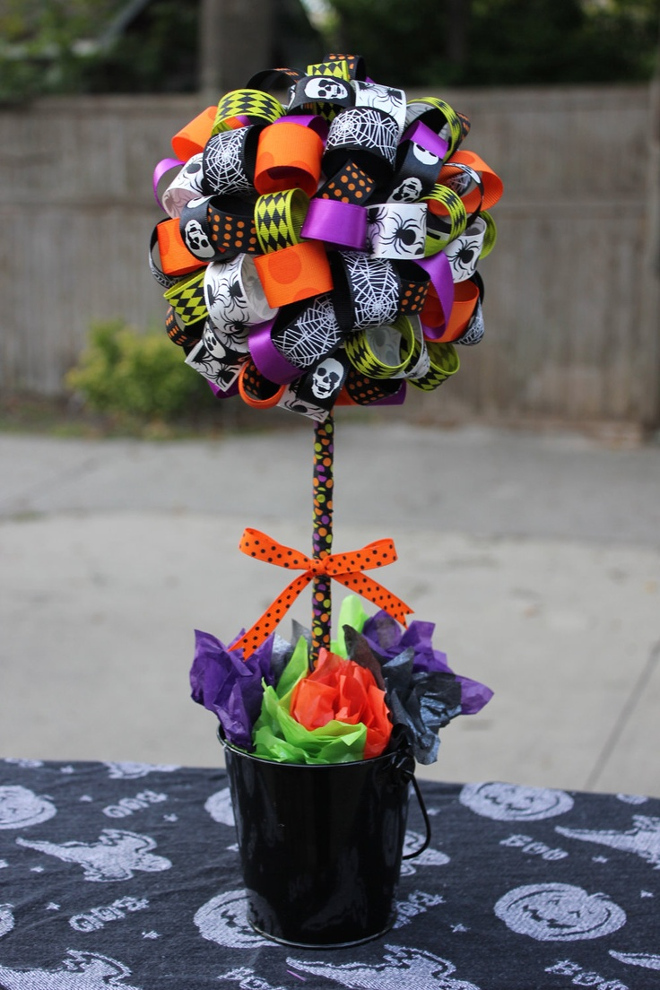 Halloween Ribbon Topiary -- Perfect Centerpiece for Halloween Party or Home Decor. $45.00, via Etsy.