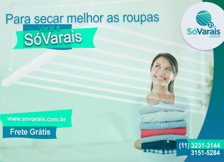 Para secar melhor as roupas, varal é na SóVarais.     * Garantia * Frete Grátis     * Instalação Grátis ( Válido para a Cidade de São Paulo )    www.sovarais.com.br    Central de Atendimento:  11 – 3151-5284 / 3231-3144 3214-1886 / SAC - 3255-9021    #VaraldeTetoIndividual #VaralSovarais #VilaMariana #varal #casa #decorar #varalRoupas #varais #decoracao #RoupasnoVaral