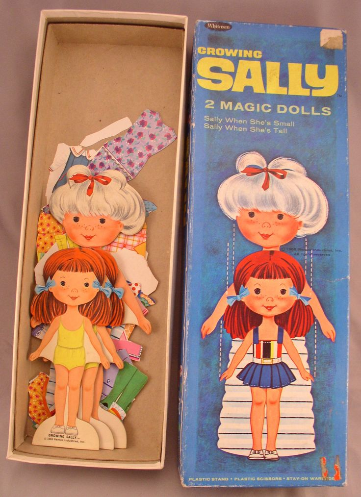 1960s GROWING SALLY Paper Doll Set - 3 Dolls  - Whitman - Vintage Toy by SMNtoys on Etsy