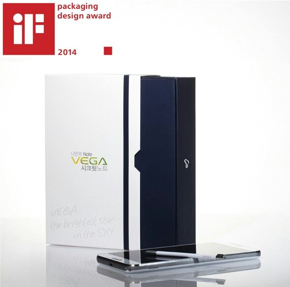 2014 iF Packaging Design Award --- VEGA Secret Note is a smartphone that can be used as a private note or a diary. The package gives an emotional experience to the user intuitively by emphasizing the look of a note. It also offers comfort and expectation of opening a high-end book by applying the slide-out method. And it expresses the look of a diary by placing the band graphic work on the surface.