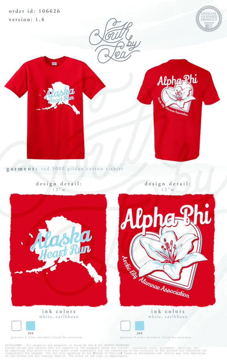 Shirt design red - Alpha Phi Alaska Heart Run Alumni Association Shirt Design South By Sea