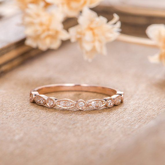 Rose Gold Art Deco Ehering Frauen Diamant zierliche minimalistischen Braut Marqu…