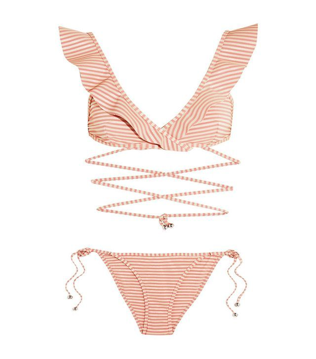 Zimmermann Caravan Ruffled Striped Bikini