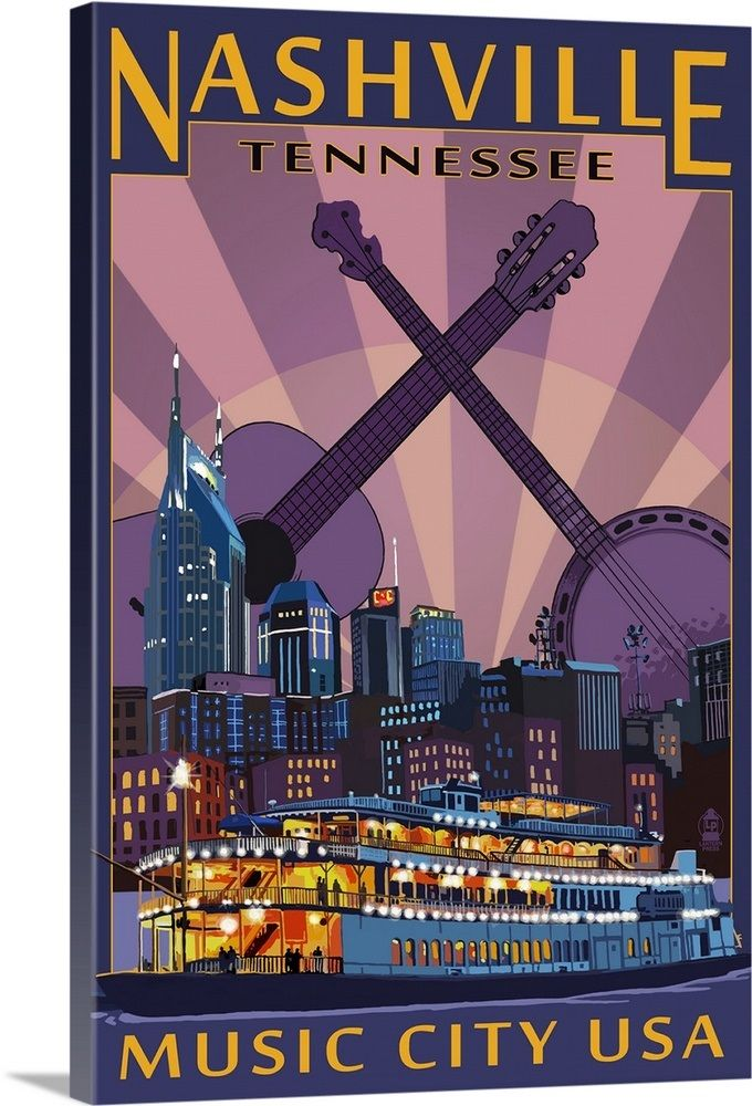 Nashville, Tennessee - Skyline at Night: Retro Travel Poster