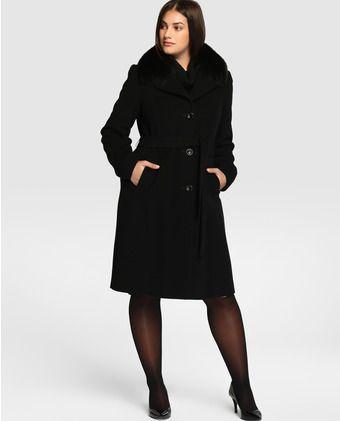 Abrigo largo de mujer talla grande Talla y Moda con cuello de pelo de zorro