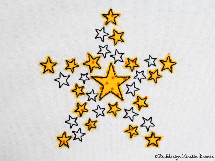 Sterne Stern Doodle Applikation Stickdatei von KerstinBremer.de ♥ Doodle star appliqué embroidery design for embroidery machines. #sticken #embroiderydesign #winter #sterne #nähmalen