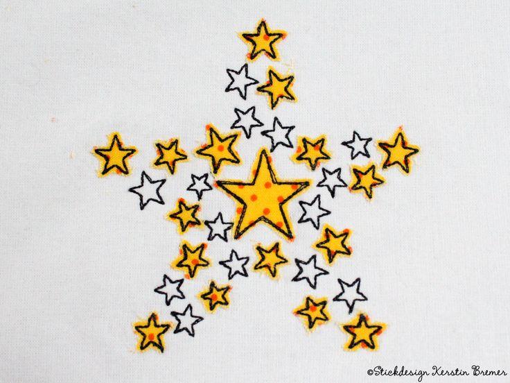 Sterne Stern Doodle Applikation Stickdatei von KerstinBremer.de ♥ Doodle star appliqué embroidery design for embroidery machines. #sticken #embroiderydesign #winter #sterne #nähmalen