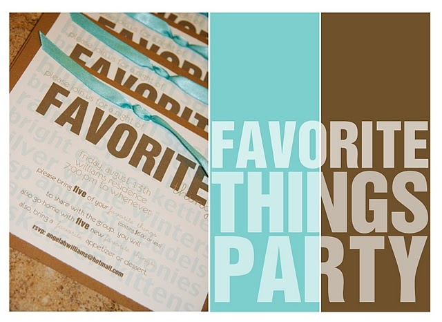 (I WANT TO DO THIS!!!!) A Favorite Things Party-      Here's how it works: Each person brings their favorite thing (anything you like.. your favorite lip gloss, favorite kitchen tool, favorite gift wrapping supply, a gift card for your favorite frozen yogurt, etc.). It can't cost more than $6, and each person brings five of the same thing. When you arrive at the party, you write your name on five slips of paper and throw them in a big bowl. The bowl is passed around, and each person takes…