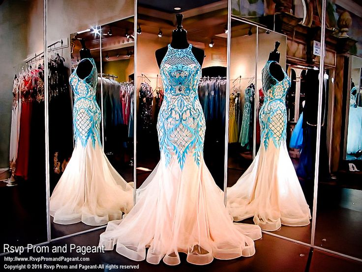 Ivory Mint Mermaid Prom Dress-Lace-Choker Neckline-Illusion Back-116NC041010