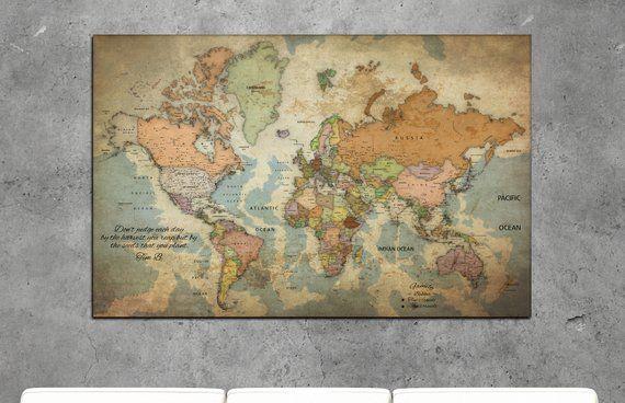 carte du monde à punaiser Vintage Push Pin World Map Personalized World Map Vintage Push Pin