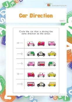 """In the """"Car Direction"""" worksheets, the student must circle the car that is driving/facing the same direction as the arrow in each row.  Available at www.visuallearningforlife.com on the Visual Perceptual Skills Builder Level 1 CD."""