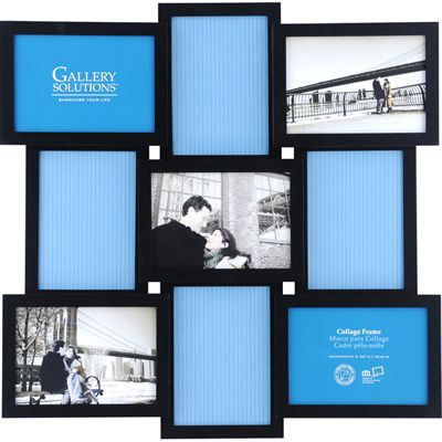 picture collage frames | Gallery Solutions 5x7 Collage Picture Frame - 9 Openings - Black 3D