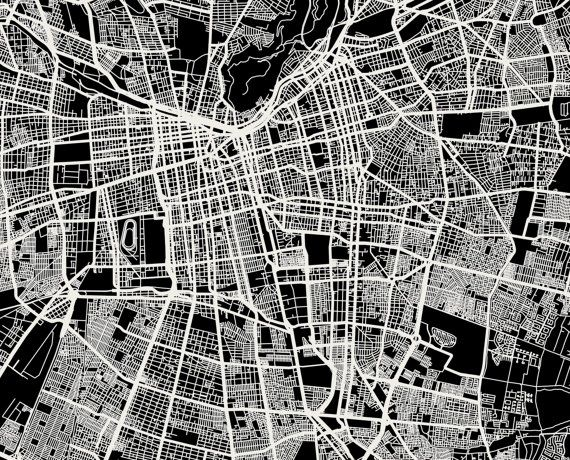 Santiago Chile Map Art City Print by MrCityPrinting on Etsy
