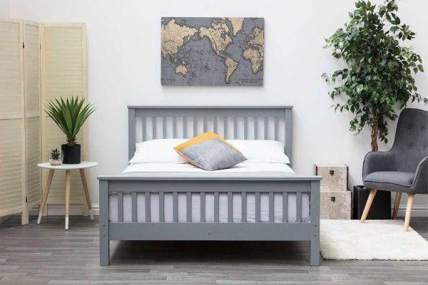 Adlington Grey Solid Wooden Shaker Style Bed Frame Single