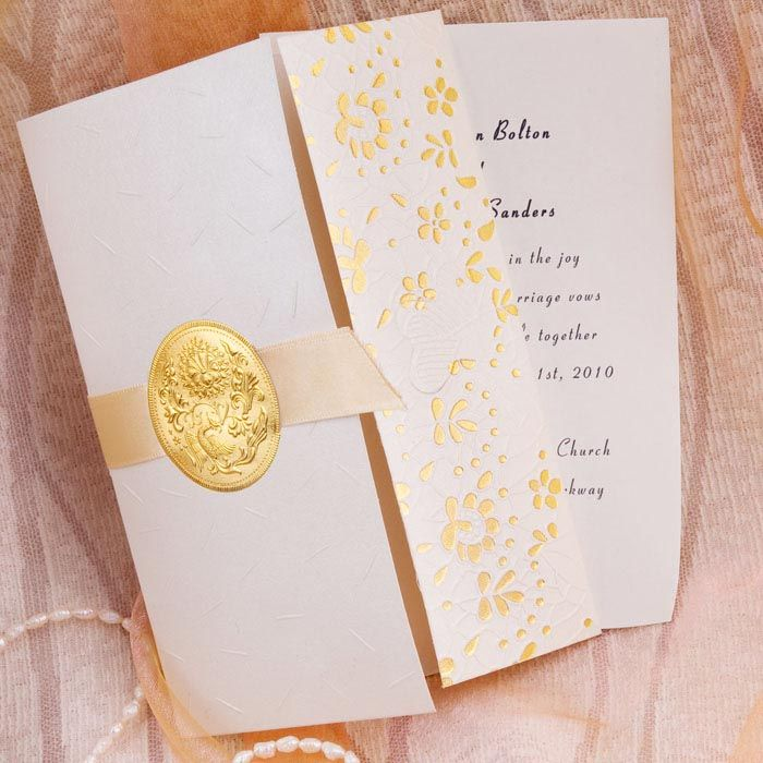 white and gold wedding invitations%0A Tri Fold Golden Flowers And Ribbon Wedding Invitations IWZD