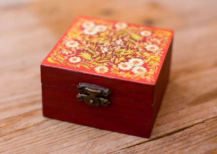 Red floral handmade, rustic decoupaged wooden trinket box by Gurdey on Etsy